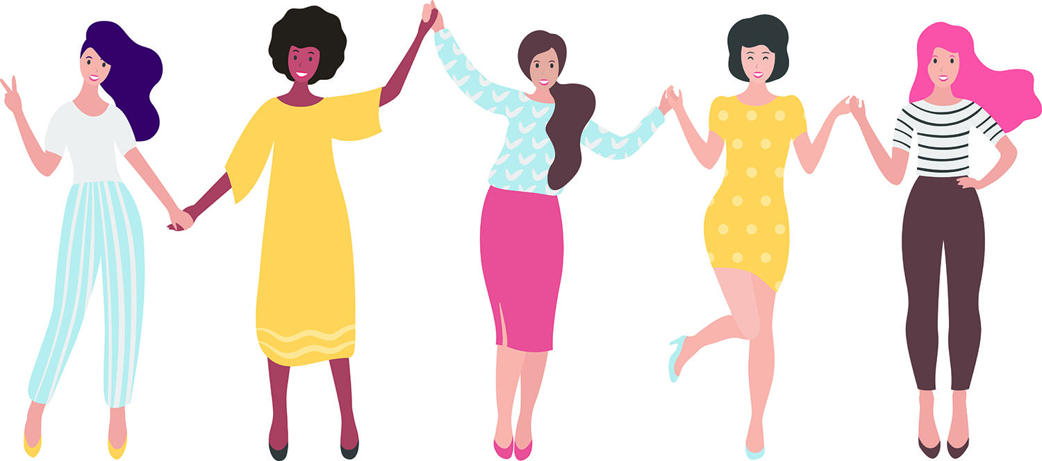illustration of 5 women holding hands celebrating friendships