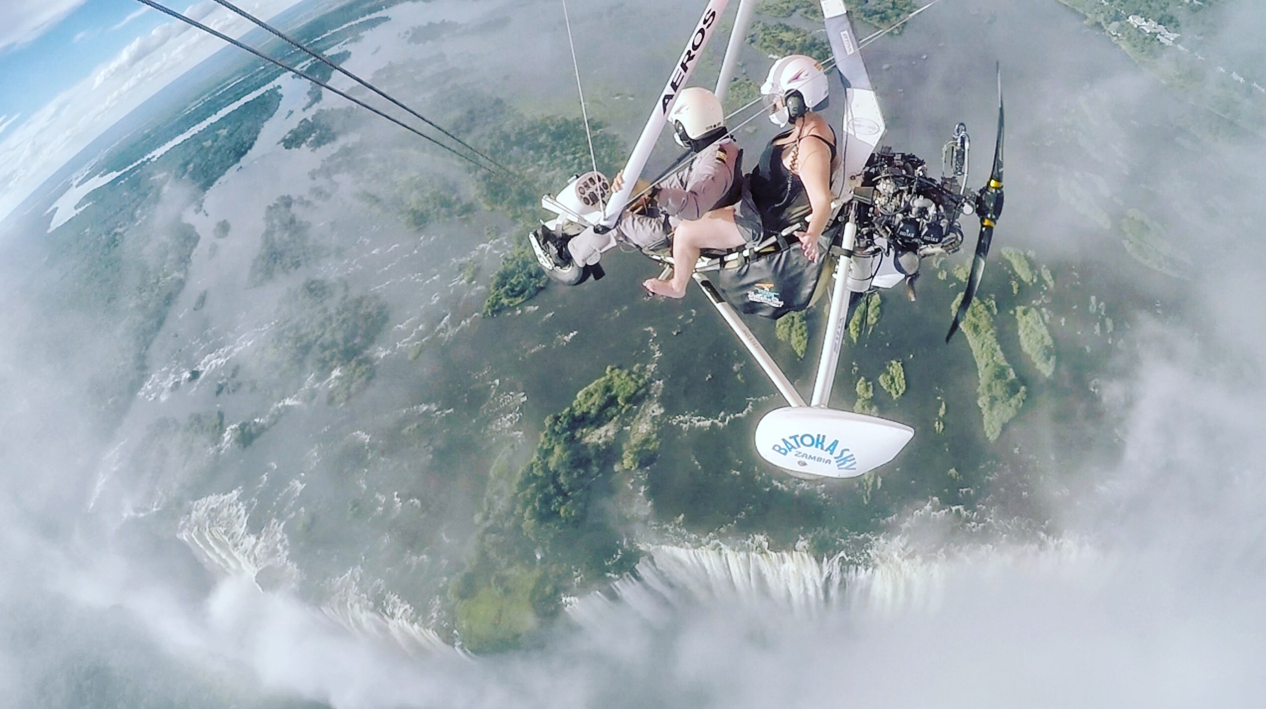 Lite-flyer over the mist of Victoria Falls